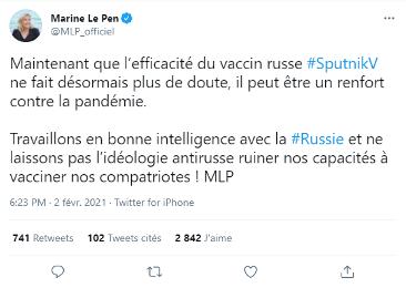 le vaccin Sputnik V plébiscité sur Twitter