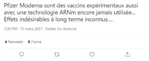 réticences vis à vis des vaccins Pfizer/Moderna