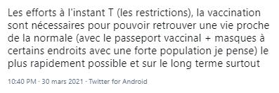 Tweet en faveur du pass sanitaire