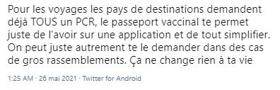 Tweet en faveur du passeport vaccinal